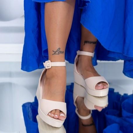 Sandale Dama cu Platforma HXS3 Bej Mei