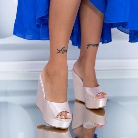 Papuci Dama cu Platforma HXS5 Champagne Mei