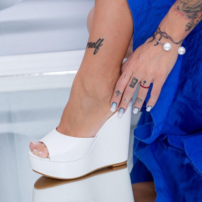 Papuci Dama cu Platforma HXS5 Alb Mei