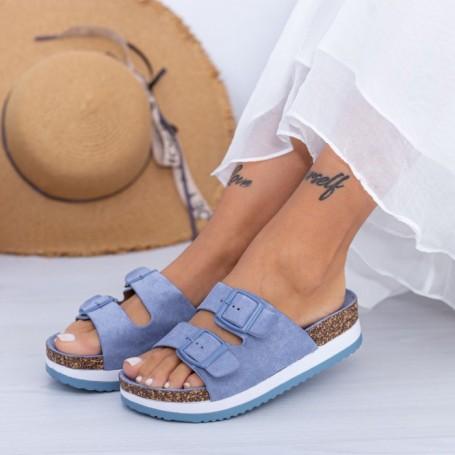 Papuci Dama WS198 Albastru Mei