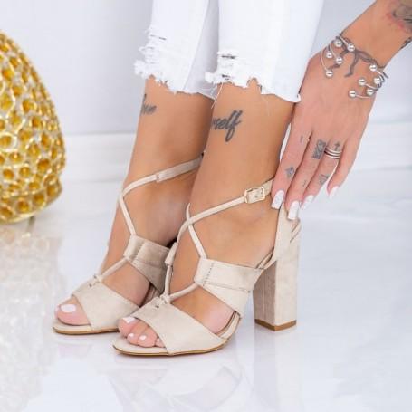 Sandale Dama cu Toc gros LE2 Bej Mei