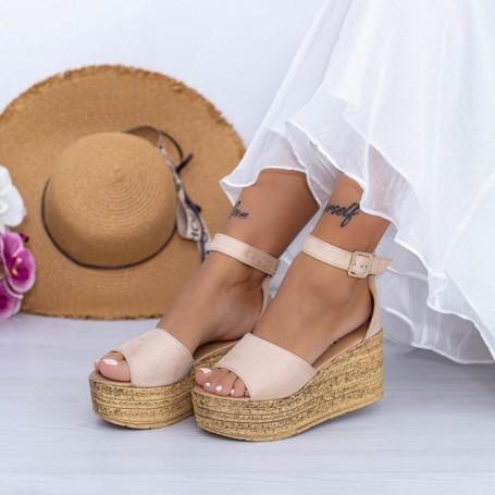 Sandale Dama cu Platforma FS18 Bej Mei