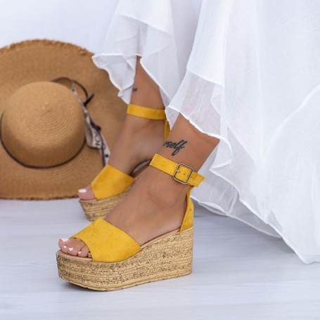 Sandale Dama cu Platforma FS18 Galben Mei