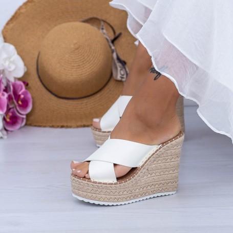 Papuci Dama cu Platforma FS50 Alb Mei
