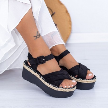 Sandale Dama cu Platforma KMD1 Negru Mei
