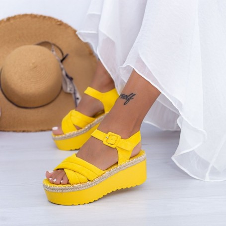 Sandale Dama cu Platforma KMD1 Galben Mei