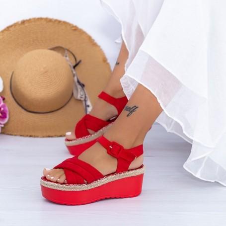 Sandale Dama cu Platforma KMD1 Rosu Mei