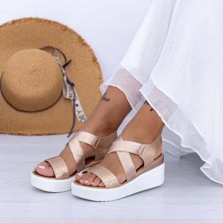 Sandale Dama cu Platforma PT12 Champagne Mei