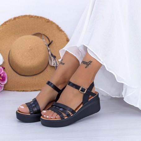 Sandale Dama cu Platforma PT15 Negru Mei