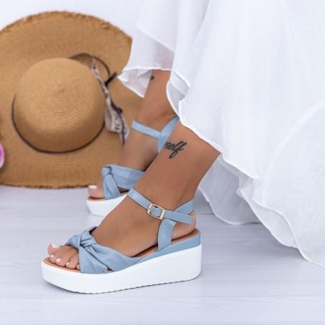 Sandale Dama cu Platforma PT16 Albastru Mei