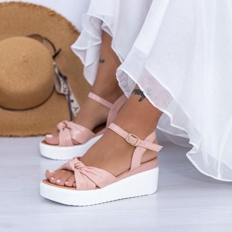 Sandale Dama cu Platforma PT16 Roz Mei