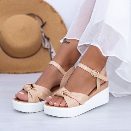 Sandale Dama cu Platforma PT16 Bej Mei
