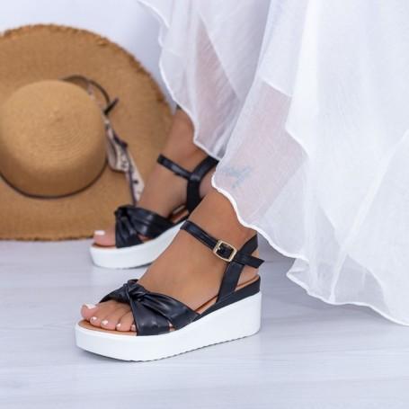 Sandale Dama cu Platforma PT16 Negru Mei