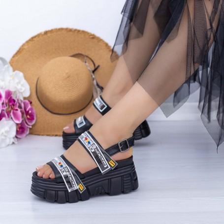 Sandale Dama cu Platforma WL32 Negru Mei