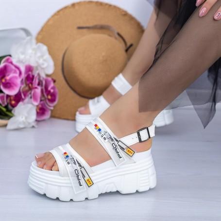 Sandale Dama cu Platforma WL32 Alb Mei