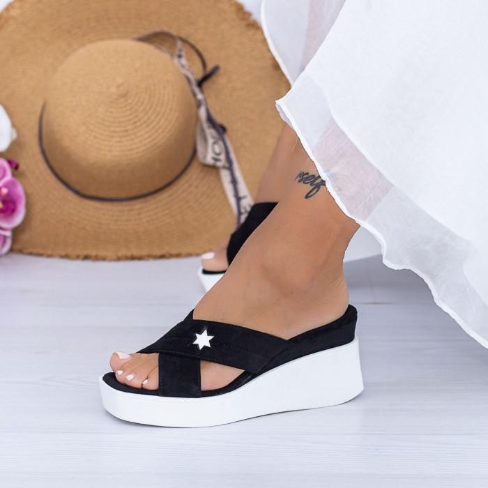 Papuci Dama cu Platforma XQJ9 Negru Mei