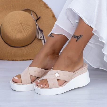 Papuci Dama cu Platforma XQJ9 Nude Mei