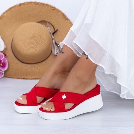 Papuci Dama cu Platforma XQJ9 Rosu Mei