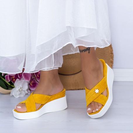 Papuci Dama cu Platforma XQJ9 Galben Mei