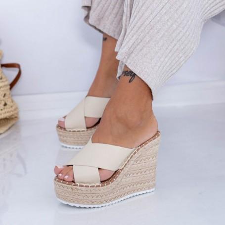 Papuci Dama cu Platforma FS50 Bej Mei