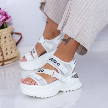 Sandale Dama cu Platforma WL23 Alb Mei