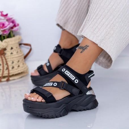 Sandale Dama cu Platforma WL23 Negru Mei