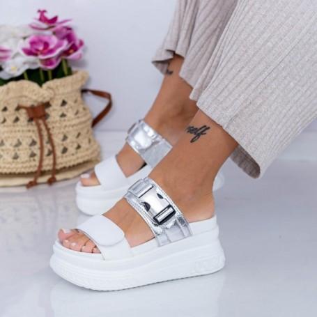 Papuci Dama cu Platforma WL26 Argintiu Mei