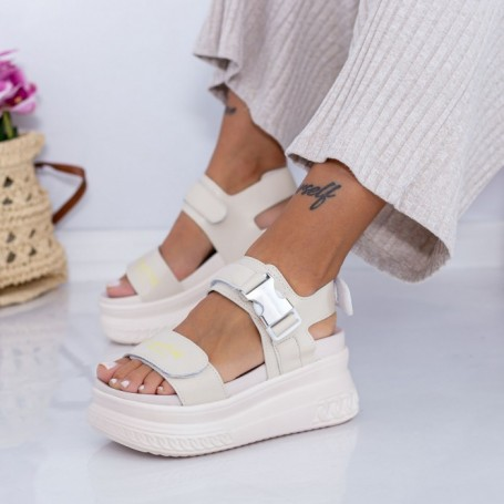 Sandale Dama cu Platforma WL27 Bej Mei