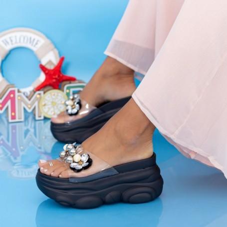 Papuci Dama cu Platforma WLGH31 Negru Mei