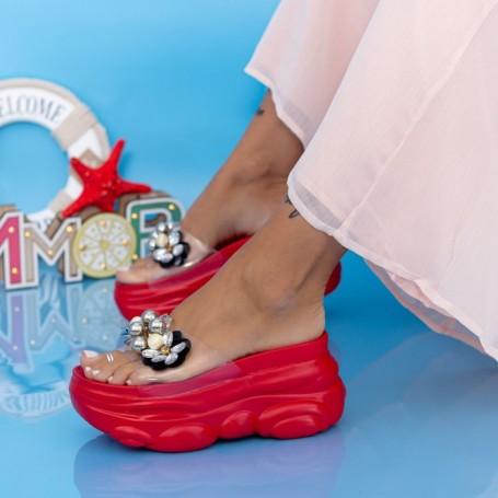 Papuci Dama cu Platforma WLGH31 Rosu Mei