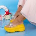 Papuci Dama cu Platforma WLGH31 Galben (B28) Mei