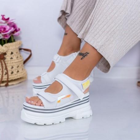 Sandale Dama cu Platforma WL29 Alb Mei