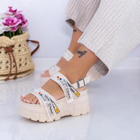 Sandale Dama cu Platforma WL32 Bej Mei