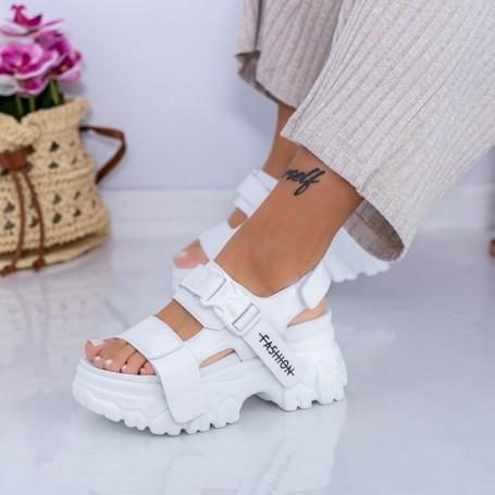Sandale Dama cu Platforma WL33 Alb Mei