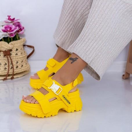 Sandale Dama cu Platforma WL33 Galben Mei