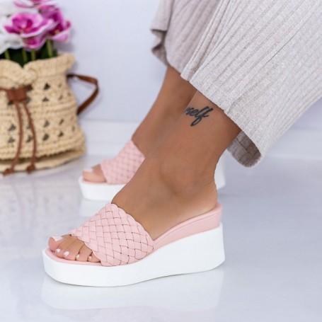 Papuci Dama cu Platforma XQJ6 Roz Mei