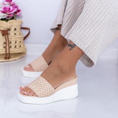 Papuci Dama cu Platforma XQJ6 Bej Mei