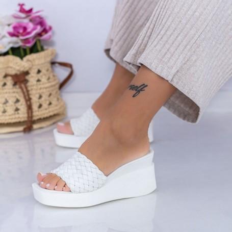 Papuci Dama cu Platforma XQJ6 Alb Mei