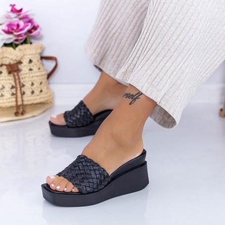 Papuci Dama cu Platforma XQJ6 Negru Mei