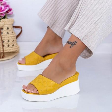 Papuci Dama cu Platforma XQJ8 Galben Mei