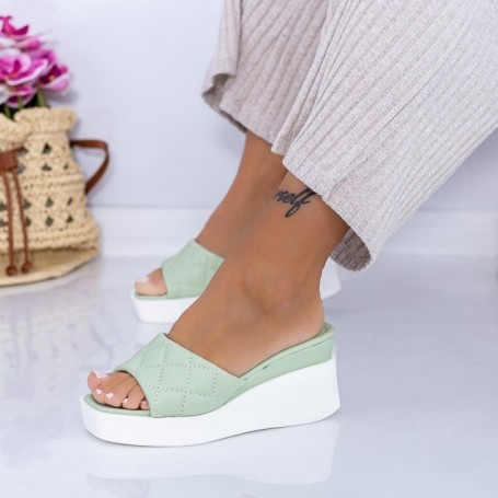 Papuci Dama cu Platforma XQJ8 Verde Mei