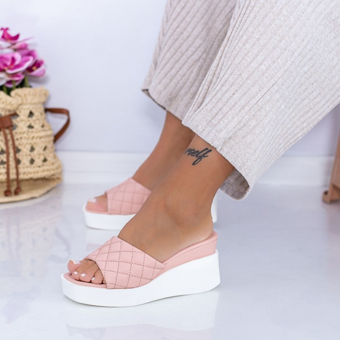 Papuci Dama cu Platforma XQJ8 Roz Mei
