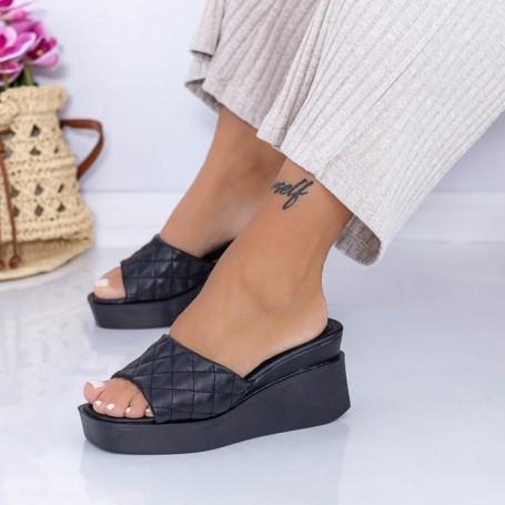 Papuci Dama cu Platforma XQJ8 Negru Mei