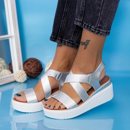 Sandale Dama cu Platforma PT12 Argintiu Mei