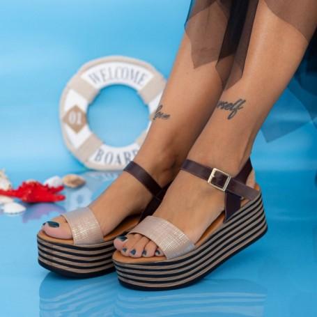 Sandale Dama cu Platforma TF18 Maro Mei