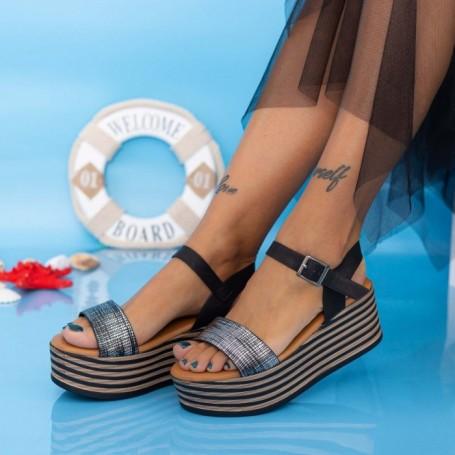 Sandale Dama cu Platforma TF18 Negru Mei