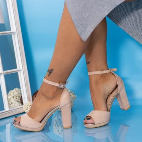 Sandale Dama cu Toc gros YXD6A Nude Mei