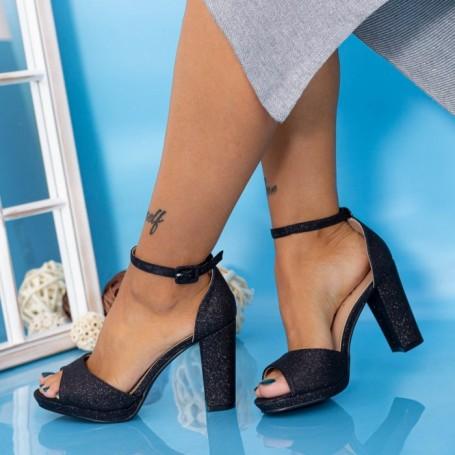 Sandale Dama cu Toc gros YXD6 Negru Mei