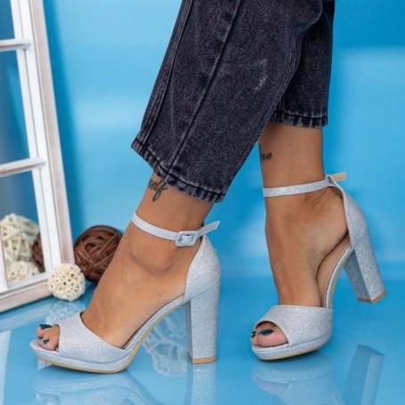 Sandale Dama cu Toc gros YXD6 Argintiu Mei