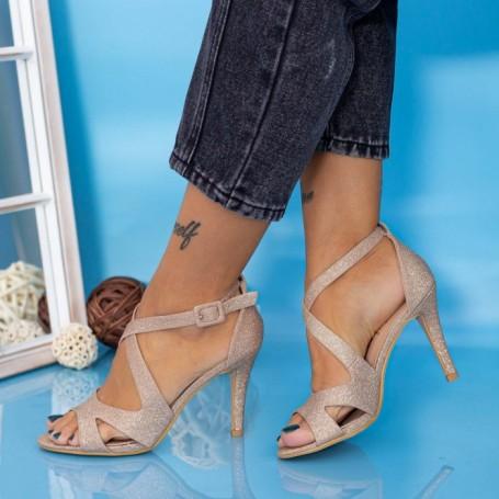 Sandale Dama cu Toc subtire YXD8A Champagne Mei